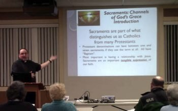 Father Jeffrey Tunnicliff, parochial vicar of St. Luke the Evangelist Parish in Livingston County, leads a video series titled Sacraments: Channels of God's Grace. (Photo courtesy of St. Luke the Evangelist Parish)