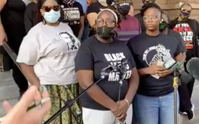 Members of Free The People Roc conduct a press conference outside Rochester City Hall Sept. 6 in regard to the death of Daniel Prude. (Courier screenshot via Free The People Roc Facebook Live)