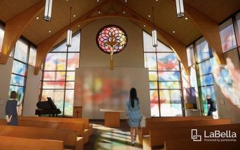 A rendering of the sanctuary inside the new Newman Catholic Center at the University of Rochester. The Newman Community is hoping to break ground on the center in the fall of 2021. (Photo courtesy of LaBella)