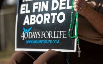 Sharon Prince protests outside Planned Parenthood in Rochester Sept. 23 on the first day of the 40 Days for Life fall campaign.