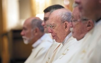 Father Joseph Trovato, CSB, looks on during Father Kevin Mannara's ordination as a Basilian priest Aug. 5, 2017.