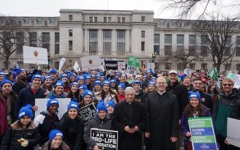 Bishop Salvatore R. Matano with the Diocese of Rochester pilgrims at the March for Life in Washington, D.C. Jan. 24, 2020.