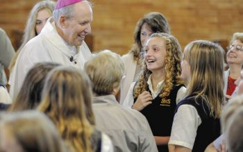Finger Lakes-area Catholic-school students gather at St. Stephen Church in Geneva in 2011 for a Mass with Bishop Emeritus Matthew H.Clark.