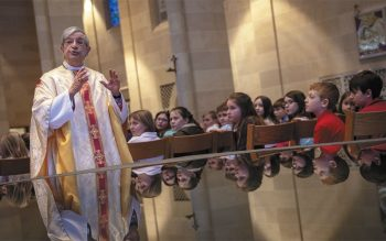 Bishop Salvatore R. Matano addresses students during the homily at the Feb. 27 Catholic School's Week Mass at Rochester's Sacred heart Cathedral.