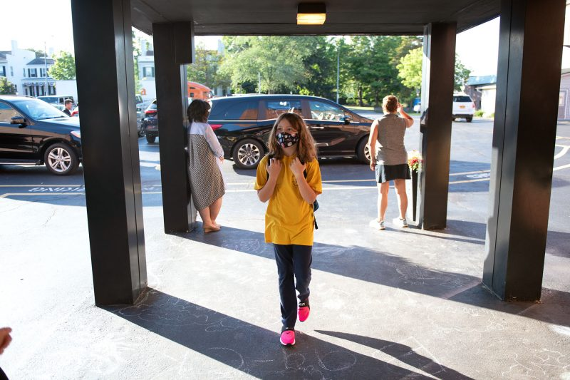 St. Mary School fourth-grader Ava Willson heads into school on the first day Sept. 9.