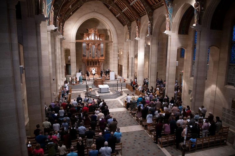 The faithful gather at the cathedral for the Respect Life Sunday Mass.