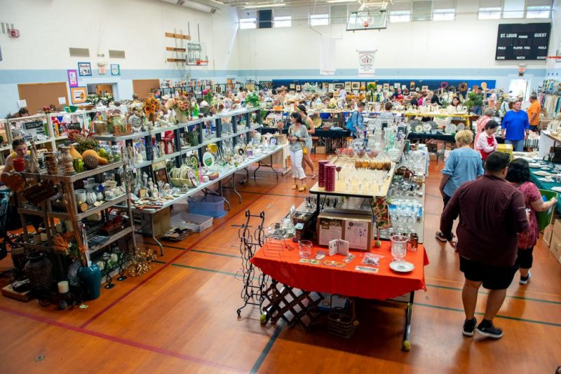 The gymnasium at Pittsford's St. Louis School is filled with items for the Saint's Place Super Sale July 9.