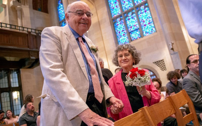 George and Mary Bauer, who have been married for 60 years, smile after renewing their vows during the Marriage Recognition Mass at Sacred Heart Cathedral May 19. (Courier photo by Jeff Witherow)